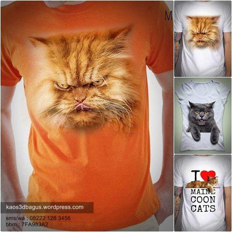 kaos gambar kucing 3 dimensi, kaos kucing 3d, kaos kucing persia, persian cat 3d t-shirt, kaos umakuka, jual kaos 3d umakuka
