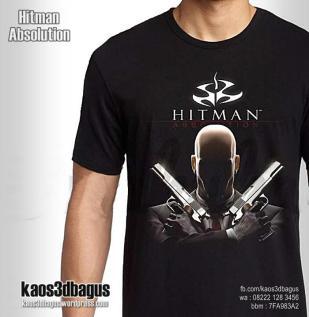 Kaos HITMAN, Kaos Game HITMAN ABSOLUTION, Kaos 3D, http://instagram.com/kaos3dbagus, WA : 08222 128 3456, LINE : kaos3dbagus