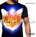 GROSIR KAOS ANIMAL - Fire GLowing Cat - KUCING