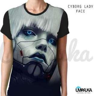 Kaos Cewek Unik - Cyborg Lady Face